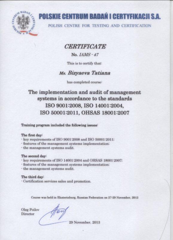 Бизяева Т.Г. - Курсы по разработке и аудиту систем менеджмента (ИСО 9001, 14001,50001, OHSAS 18001)